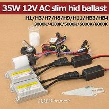High Quality 35W 12V AC  HID Kits Xenon Bulb 3000K 4300K 5000K 6000K 8000K H1 H3 H7 H8 H9 H11 9005 9006 + Slim Xenon Ballast