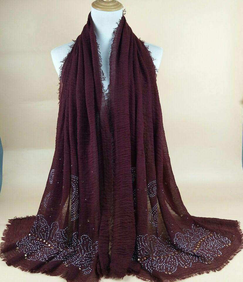 F5 High Quality Bead Diamond Bubble Viscose Hijab Scarves Scarf Women Long Shawl 180*90cm 10pcs/lot
