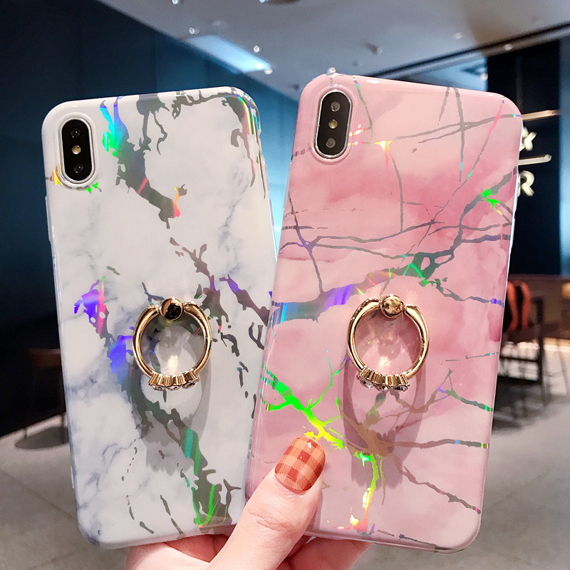For iPhone XS Max Cover UYFRATE Ultra Slim Laser Marble Kickstand Case For iPhone XS Max XR XS X 8 8 Plus 7 7 Plus 6 6S 6Plus