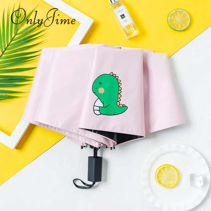 Hanya Jime Dinosaurus Lucu Kartun Payung Wanita Hujan dan Matahari Penggunaan Ganda Lipat Kecil Segar Siswa Sederhana Gadis Jantung payung