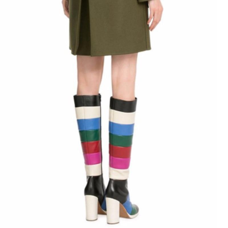 Rond Couleurs Latérale Glissière Botas Chaussures Hauts Haute Mujer Chunky Mode Pointu Talons Mélangées Genou Bout Femmes Picture As Bottes Coloré Awqp6g6