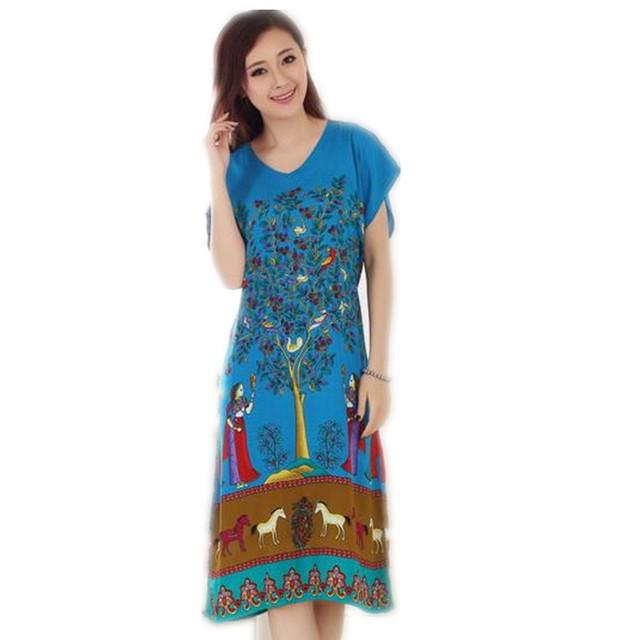 Nova Chegada Azul do Verão de Manga Curta da Senhora Camisola de Algodão Estilo Chinês Robe Bath Vestido Flor Sleepwear Um Tamanho T061