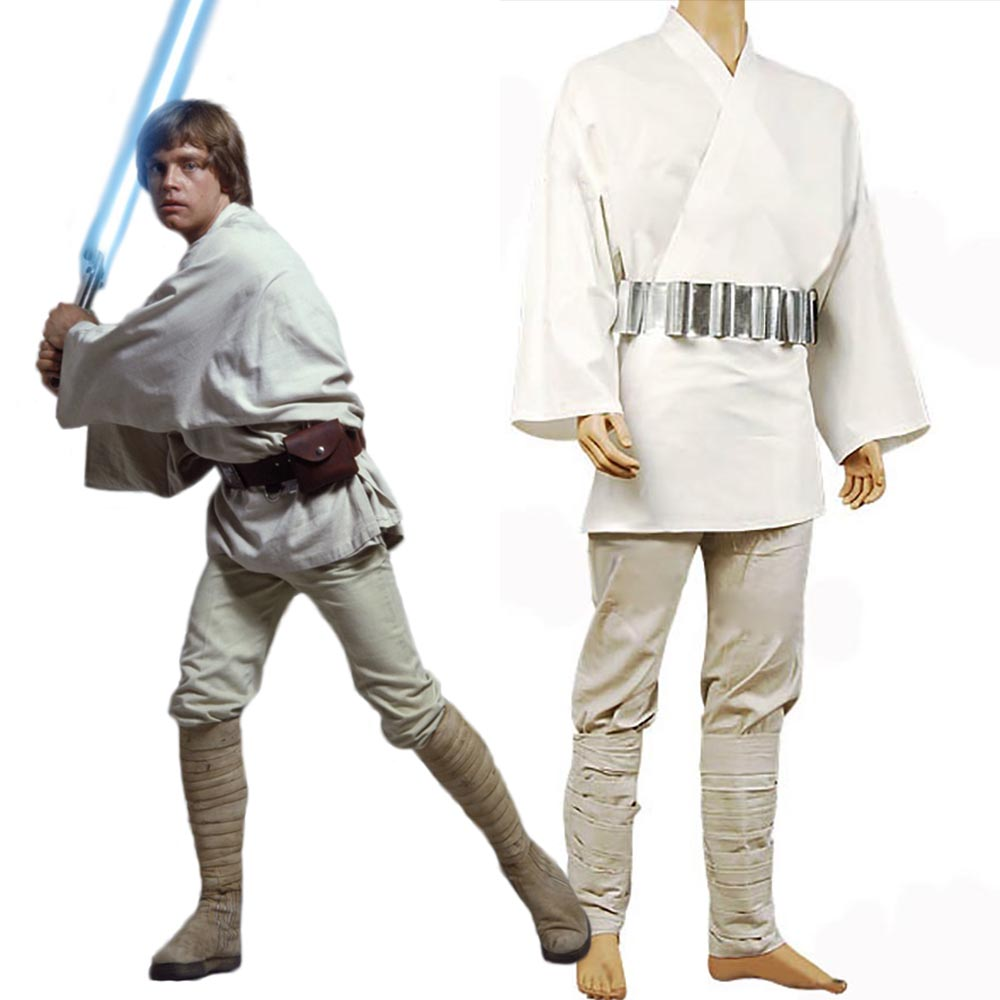 Cosplay Star Wars Costume Luke Skywalker Tunic  Cosplay Costume Full Set Uniform White Color Halloween Women Men