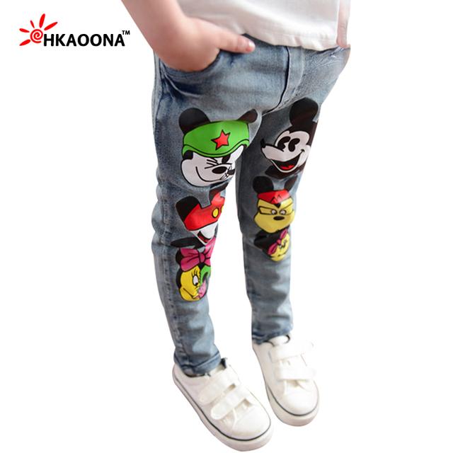 Crianças de Jeans outono Encantador Dos Desenhos Animados do Rato Denim Calças Para O Bebê Das Meninas Dos Meninos das Crianças Calças Calças Cintura Elástica Crianças Roupas