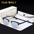 2017 La Mitad De Metal Diseñador Gafas de sol Recubrimiento gafas de Sol Polarizadas Mujeres Hombres bain Espejo caso de Alta Calidad de Las Señoras Gafas de Sol Sombras