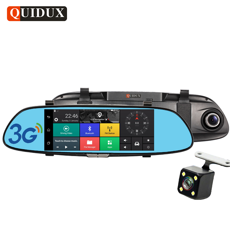 QUIDUX 7 3G Full HD 1080P Car DVR GPS Navigation Bluetooth Dual Lens Rearview Mirror Video Recorder Camera Automobile Dashcam