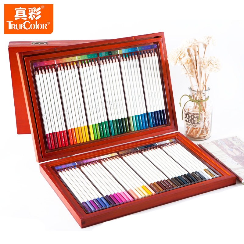 Ensemble de crayons de couleur en bois 72/108 couleurs paquet de Carton huileux coloriage dessin crayon Pastel crayons avec boîte en bois pour paquet