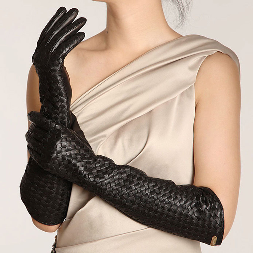 New Arrival 2019 Women Gloves 44cm Long Goatskin Glove Fashion Elbow Real Genuine Leather Black Sheepskin Free Shipping L108NN in Women 39 s Gloves from Apparel Accessories
