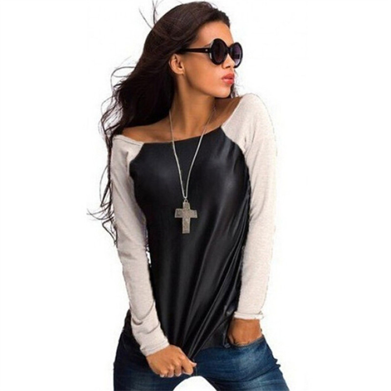 Fashion T Shirt Autumn Tops Women Black Long Sleeve Leather T-Shirt Casual Loose Boat Neck Tee Winter Shirts Blusas 2017