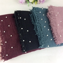 Pearls Crinkle Cotton Viscose Women Shawls And Scarves Soft Feel Muslim Hijab 2018 New Arrival 10pcs