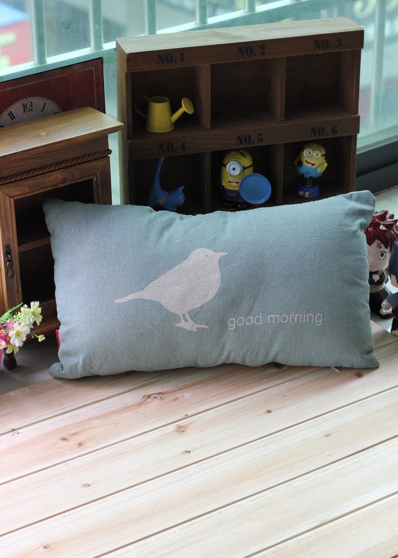 Free Shipping!Blue Color Seat Cushion Good Morning Cotton Sofa Pillow Soft Waist Pillow High quality Chair Cushion