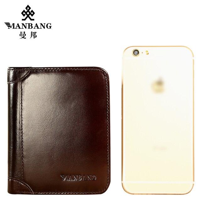 ManBang Echtem Rindsleder Männer Brieftasche Trifold Brieftaschen Mode-Design Marke Geldbörse ID Karte Halter Geldbörse Geschenk Für Männer