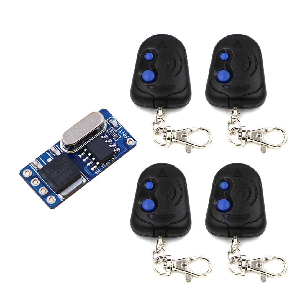 Top DC3V 3.7V 4.5V 5V 6V 7.4V 9V 12V Small Size Remote Control Switch No Sound Receiver+4Transmitter with 2 buttons 315/433mhz