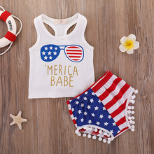 Independence day flag girls sets toddler christmas outfit baby girl clothes 2019 korean fashion cotton sleeveless pullover