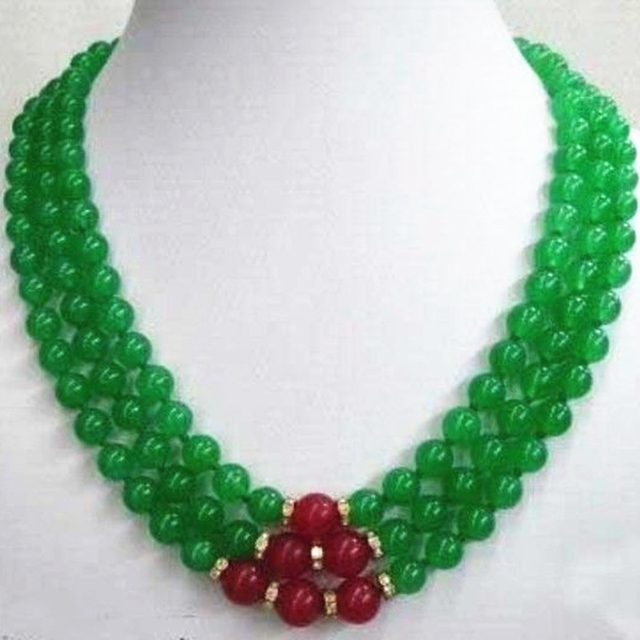 Hot Sale Fashion Style 8mm Green Red Jade Chalcedony Jasper Round Beads 3rows Chain Necklace For Women Jewelry 17-19inch MY5194