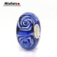 Mistletoe Jewelry 925 Sterling Silver Not Original Pink Blue Green Flower Rose Murano Glass Charm Bead