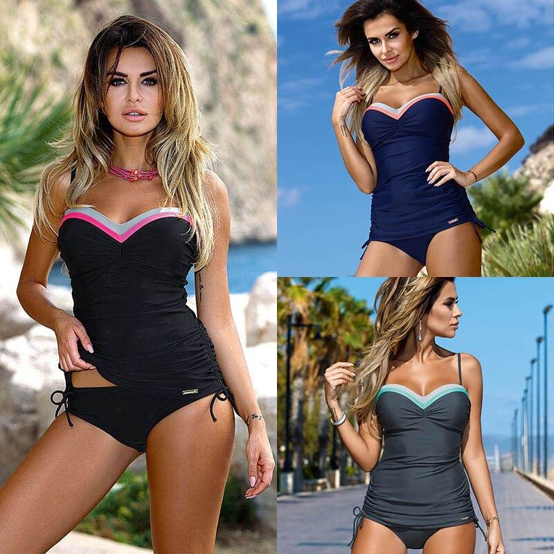 TQSKK 2019 New Patchwork Women Swimwear Sexy Female Push Up Swimsuit Sexy Tankini Set Retro Summer Beach Wear Bathing Suits