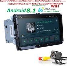 2Din 9 «Android 8,1 DVD плеер автомобиля стерео радио для VW ГОЛЬФ 5 6 поло Passat CC Jetta Tiguan Touran gps навигации 2 г оперативная память 4