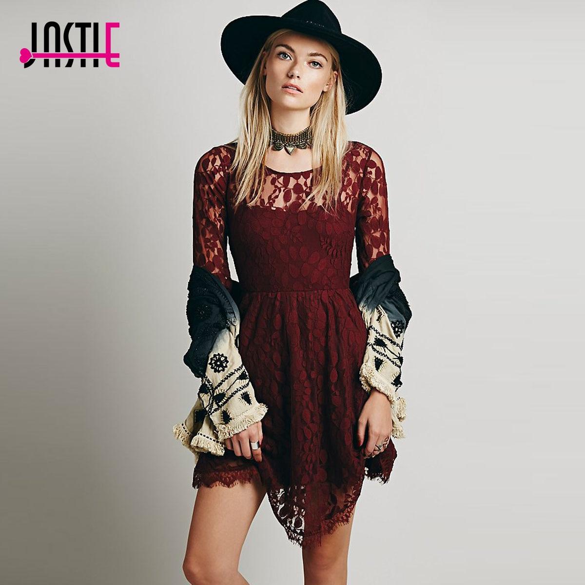 Jastie цветочное Сетчатое летнее платье Boho Хиппи с вышивкой, прозрачные кружевные платья с нижней кромкой, женское платье(без подкладки - Цвет: Красный