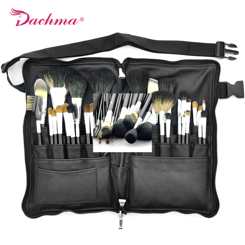 ФОТО 32pcs Makeup Brushes set professional Pro Powder Brush Foundation  Soft Animal Hair With PU Leather Belt case Cosmetic tools