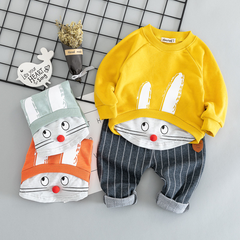 Cotton Autumn Lively Informal Cartoon Child Go well with Youngsters Set Child Clothes Boys Clothes Lady Clothes Child Garments Clothes Set