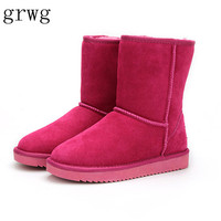 GRWG Nice New Free Shipping Classic Waterproof Genuine Cowhide Leather Snow Boots Wool Women Boots Warm Winter Shoes for Women