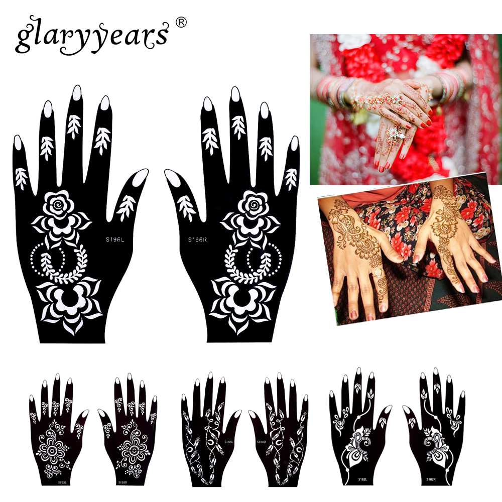 Glaryyears 32 diseños 1 par flor cordón manos Henna Stencil ...