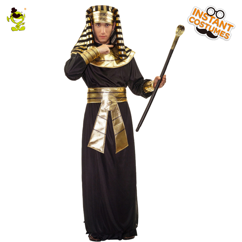 Men's Glod Egyptian Pharaoh Costume Halloween Party Cosplay Traditional Egypt Costumes Party Egyptian Pharaoh Role Play Costumes