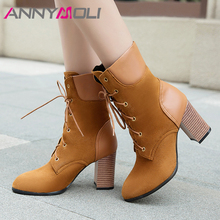 ANNYMOLI Women Shoes Winter Ankle Boots Lace Up Thick High Heel Short Boots Fashion Pointed Toe Shoes Ladies Fall Plus Size 3-12 ladies sexy pointed toe blue denim lace up short boots super high heel jean ankle booties street fashion boots
