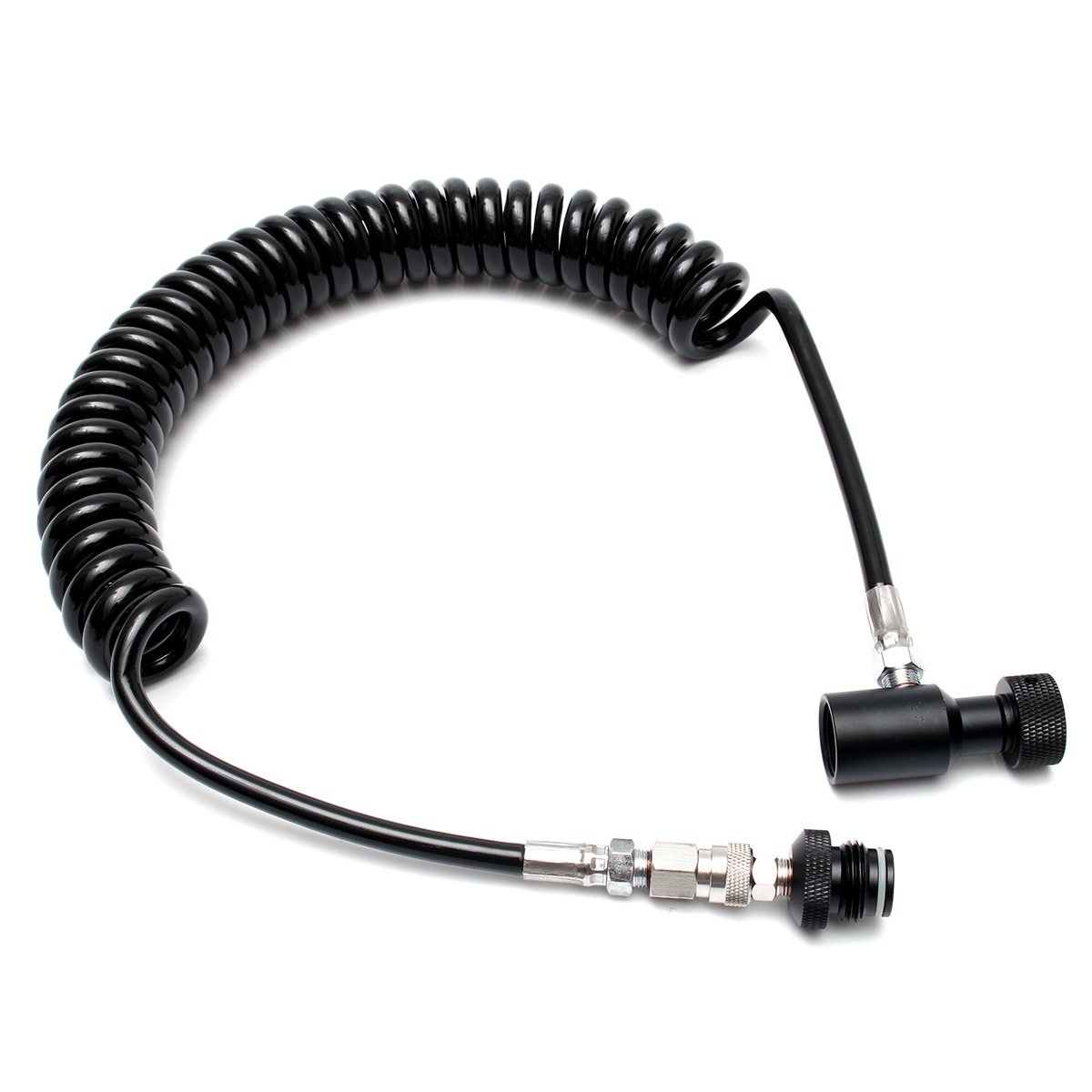 Remote Thick  High Pressure Coiled Hose ASA Quick Release TOOL HPA CO2 Paintball Tank Heavy  With Quick Disconnect