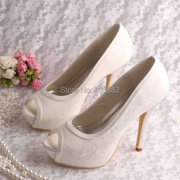 off white wedding shoes wedopus platform high heels open toe white lace shoes 6227