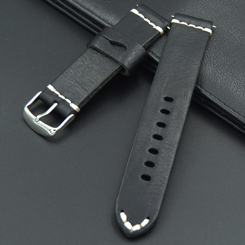 20mm Men Woman Genuine Straps Cowhide Leather black Suede Wrist Watch Band Strap Belt Silver Polish Pin Buckle fashion Upscale 2017 upscale genuine leather watch strap 20 21 22 24 26mm watchband band men luxury watches silver buckle straps relojes hombre
