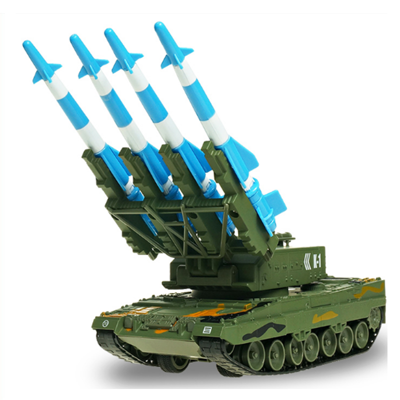 Alloy Tank Model Air Defense Missile Model Ornaments Alloy Rocket Gun Boy Simulation Gift Crawler Can Lunch Children Hobby Toys