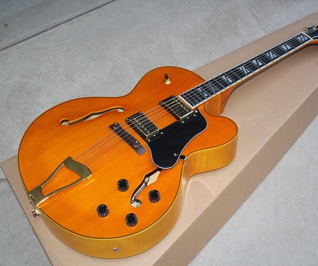Factory Custom Semi Hollow Orange Electric Guitar With Gold Hardware