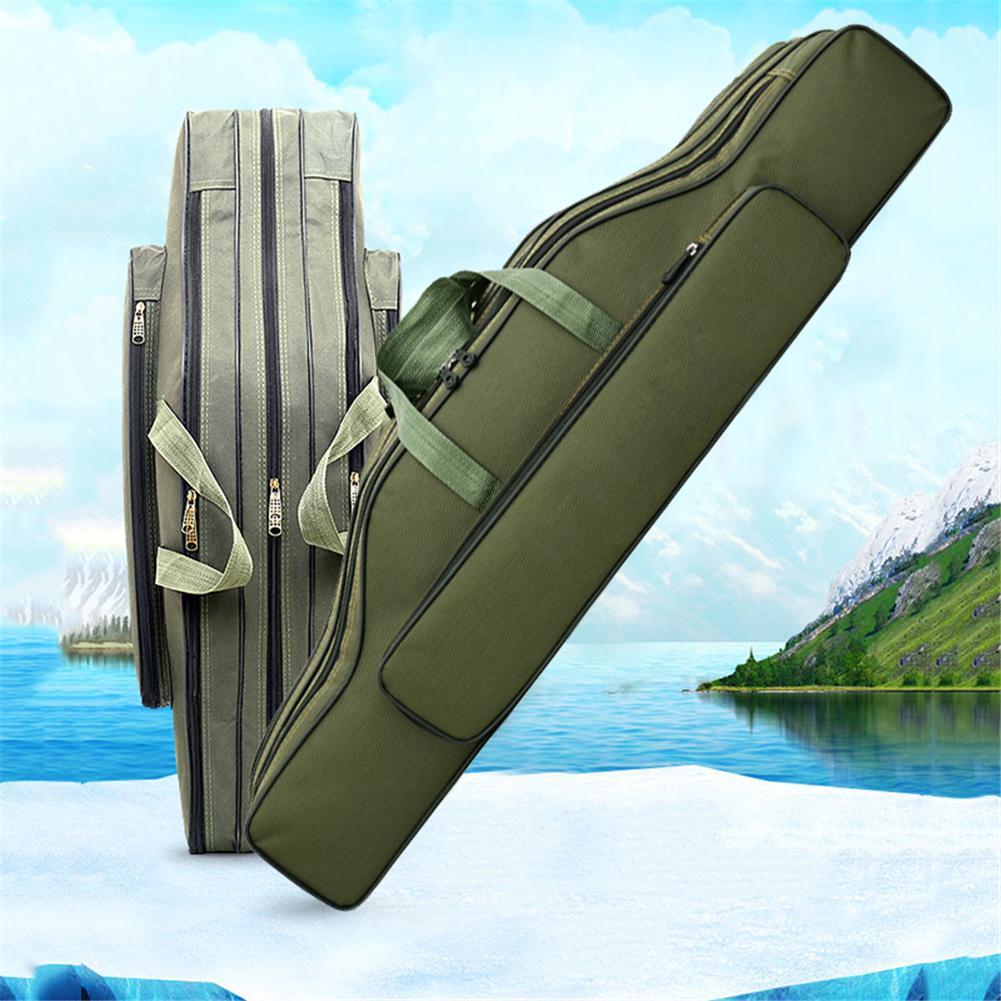 High Quality Portable Fishing Bags Canvas Rod Pole Storage Fishing Bag Case 80cm 90cm 2 Layer 80/90cm 3 layer 80/90cm текстиль для фонового оформления 60 90cm