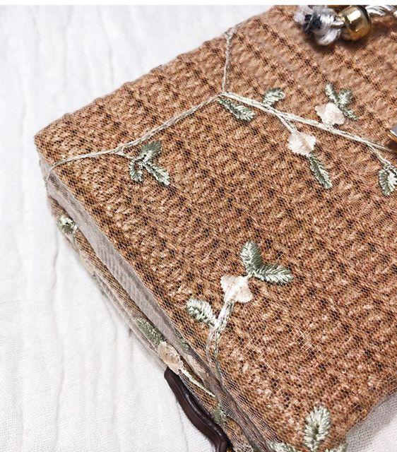 Bolso vintage flores bordadas