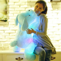 2018 1pc 50cm Luminous Dog Plush Doll Colorful LED Glowing Dogs Children Toys For Girl Kidz