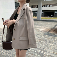 Casual Double Breasted Black Blazer for Women Notched Collar Pockets Basic Jacket Female 2019 Loose OL Style Outwear blaser