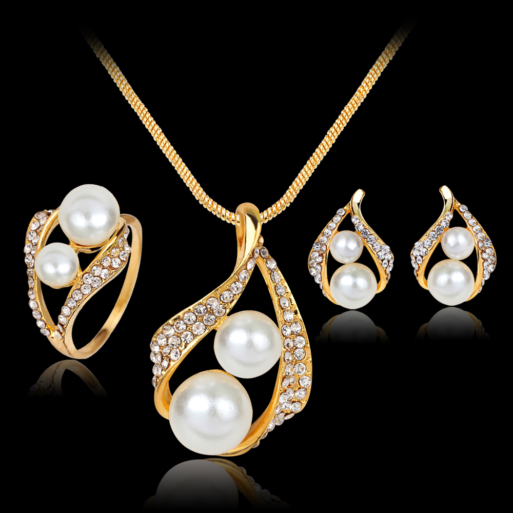 2017 New Simulated-Pearl Wedding schmuck Jewelry Sets Parure Bijoux Mariage Jewelry Necklace Earrings Rings Sets For Women 1