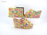 Free Shipping By DHL 2017 New Design African Italian Shoes And Matching Bags For Wedding Party
