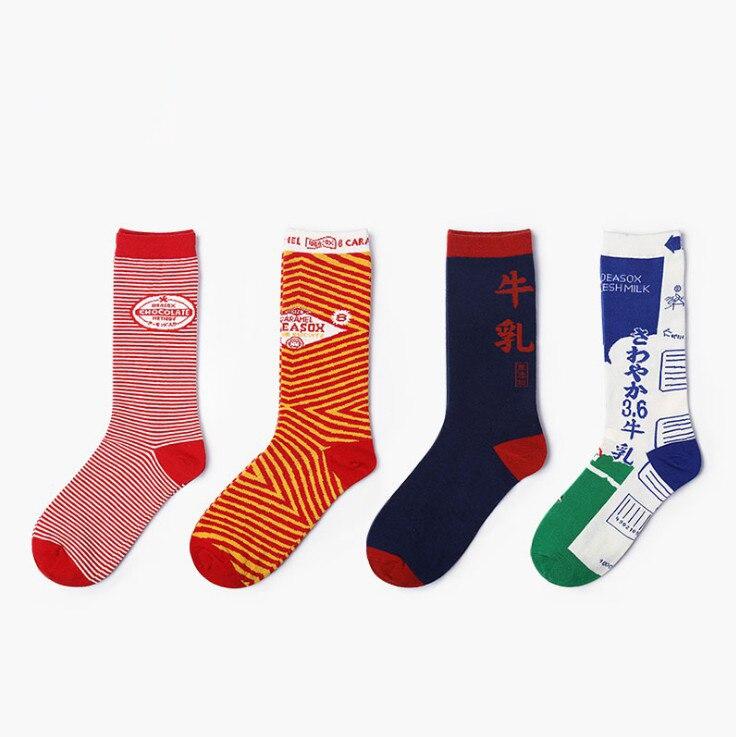 2018 Hot Sale Winter Cotton Mens Socks Print Colorful Breathable Harajuku Crew Ladies Novelty Long Ankle Happy funny Socks