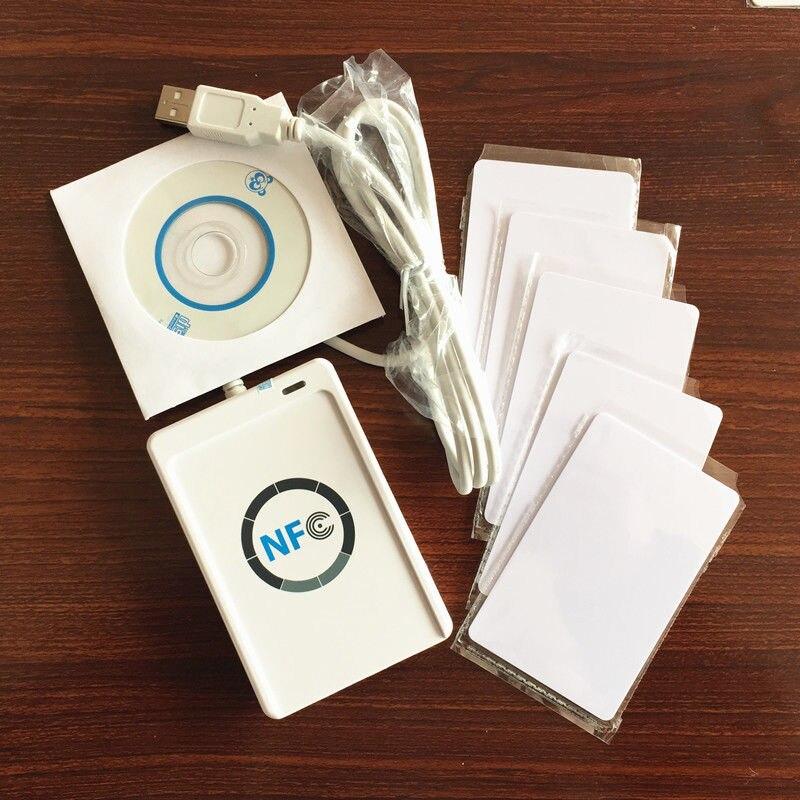 US $30 6 32% OFF|ACR122U USB NFC Cloner Copier Reader Writer 13 56Mhz RFID  Duplicator + 5pcs UID Card + SDK + MF 1K Card Copy Clone Software-in