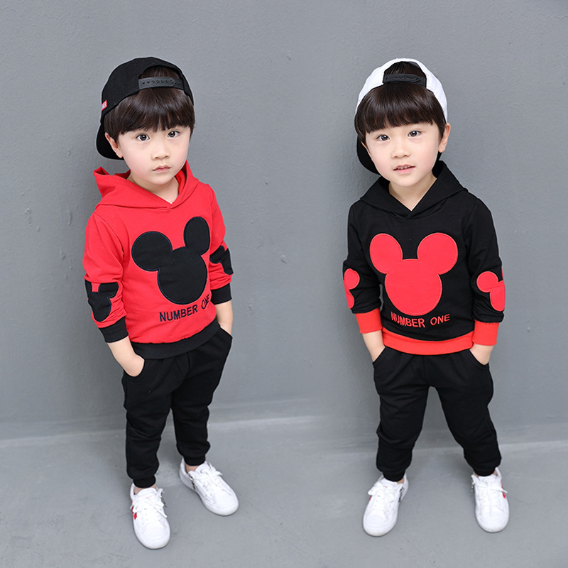 Autumn 2018 Mickey Minnie T-shirt+Pants 2Pcs Suits Kids Casual Sport Hooded Suits Baby K ...