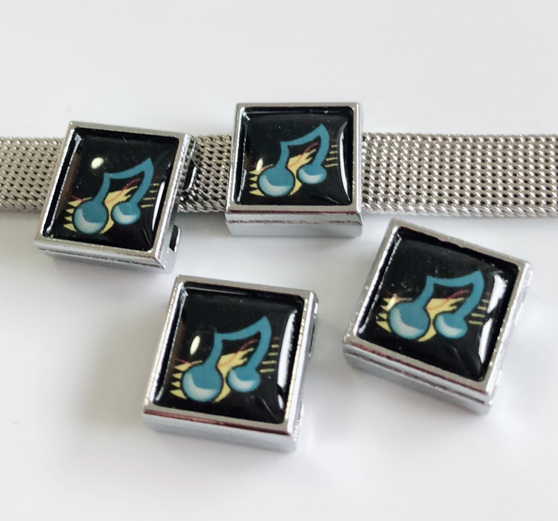 10PCS 8mm Music note Square Slide Charms Beads Fit 8mm Wristband Belts Pet Collars Phone Strips Keychain