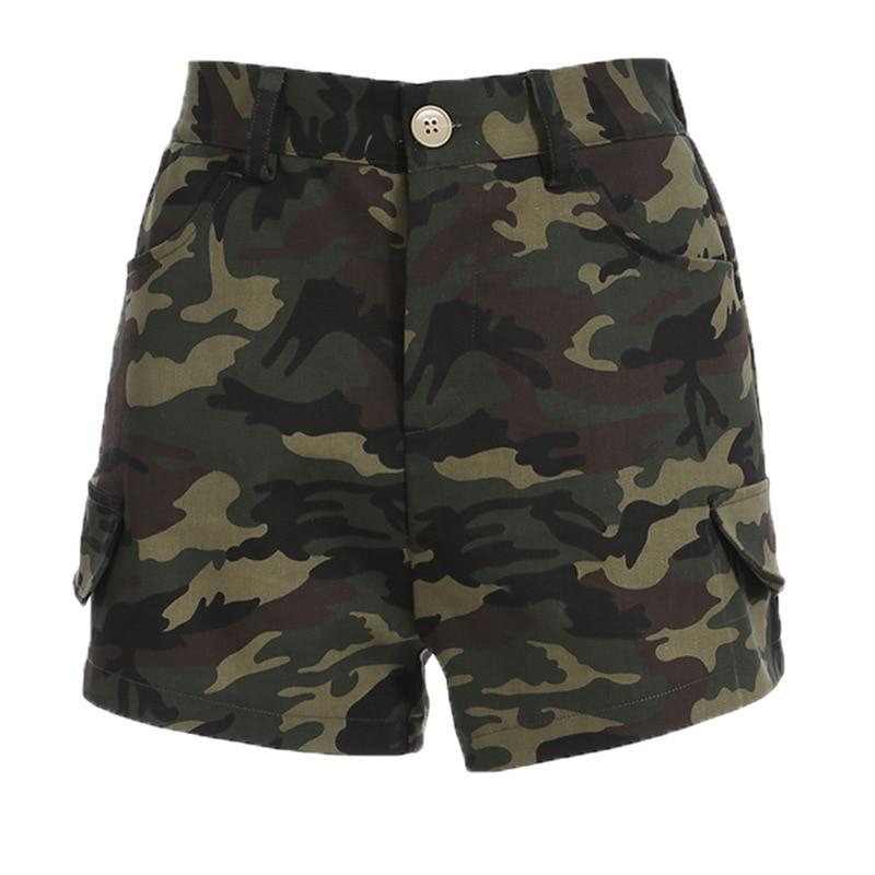 Focal20 Streetwear Women High Waist Camouflage   Shorts   Summer Pockets   Shorts   Causal Slim   Shorts   For Women
