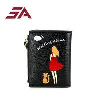 SA 2018 Women Mini Wallets and Purses Short Little Girl Printing Card Case Holder Fashion Coin Purses Carteira Feminina