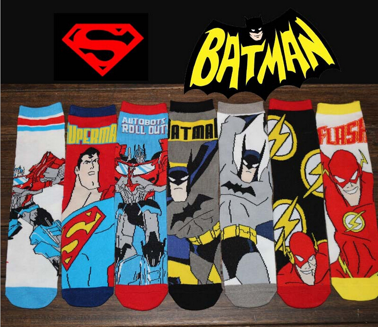 24pcs=12pair HOT man cotton cartoon superman batman The Avengers flash DC Comics film fans Casual Socks 24pcs/lot