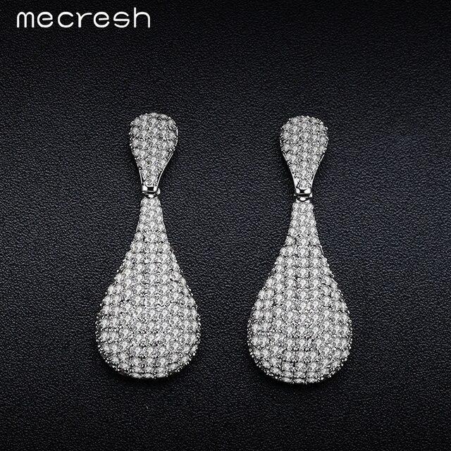 Mecresh Cute Shining Bowling Shape Long Drop Earrings Pave Cubic Zirconia Silver Color Bride Party Prom