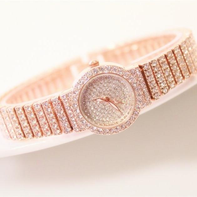 Legújabb stílust női strasszos órák rózsa arany ruha órák - Női órák