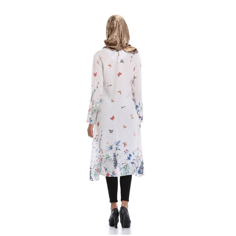 23796c30e9 White Floral Print Mid Length Dress Traditional Muslim Abayas Round Neck  Long Sleeve Long Style Robe for Ladies 3 Styles Colors -in Islamic Clothing  from ...